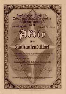 Tabak Landesprodukte AG Handel 1923 Korf Freiburg Baden 5000 Mark Kehl Lit. A