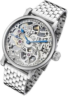 32 Ss Stainless Steel Watch - Rougois Mechanical Skeleton Steel Watch