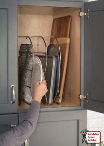 Bakeware organizer ebay one kitchen cabinet wire bakeware organizer storage divider holder rack 12 workwithnaturefo