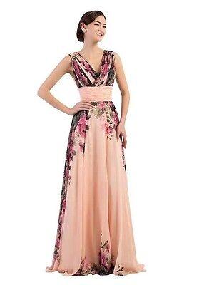 Lang Floral Chiffon Abendkleid Ballkleid Maxikleid Blumenprint Kleid 34 -42 BC09 Floral Print Chiffon Kleid