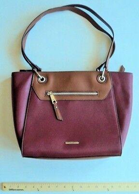 CHAPS RED Wine Burgundy Hand Bag Purse HandBag Shoulder Tote - FLASH SALE](Cheap Tote Handbags)