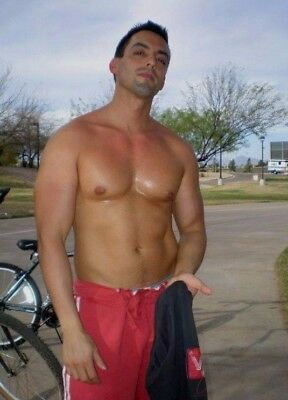Shirtless Male Muscular Beefcake Sweaty Athletic Bike Hunk Beefy PHOTO 4X6 F15