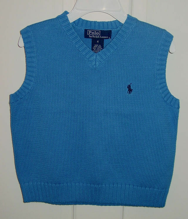 RALPH LAUREN BOYS MEDIUM BLUE V NECK SWEATER VEST SIZE 4 NEW WITH TAGS