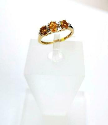 0.60ct Madeira Citrine Ring in Gold Overlay 925 Sterling Silver - UK Sizes I & R