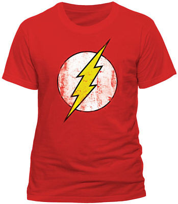 Official DC Comics The Flash T Shirt Distressed Logo Sheldon Big Bang Theory Red ()
