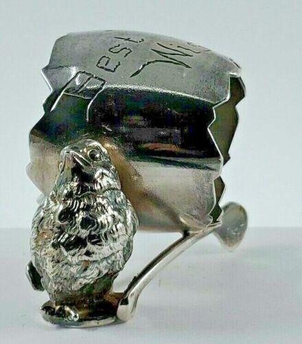 Antique Derby Silver Co. Chicken Chick Bird on Wishbone Best Wishes Napkin Ring