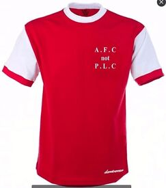 AFC not PLC PROMO, £12.99 . Arsenal Classic home shirt, support the team but not the regime