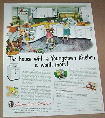 1951 print ad - Youngstown Kitchens little girl mother family art advertising