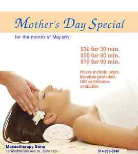 Massage - Mother's Day Special for Entire Month of May!