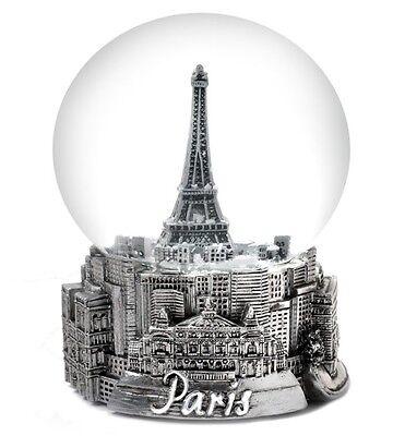 "PARIS IN SILVER -  EXCLUSIVE 100MM MUSICAL SNOW GLOBE - PLAYS ""LA VIE EN ROSE"""