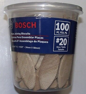 Bosch PJ1120 Plate Joiner Biscuits size 20, 100 Pack USA