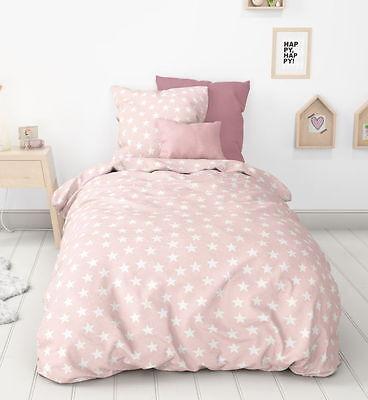 Aminata - Bettwäsche 135x200 cm Sterne rosa weiss Baumwolle