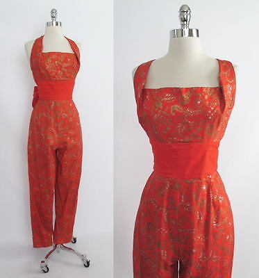 Vintage 50's 60's RARE Fire Red Orange Gold Alfred Shaheen Hawaiian Jumpsuit M