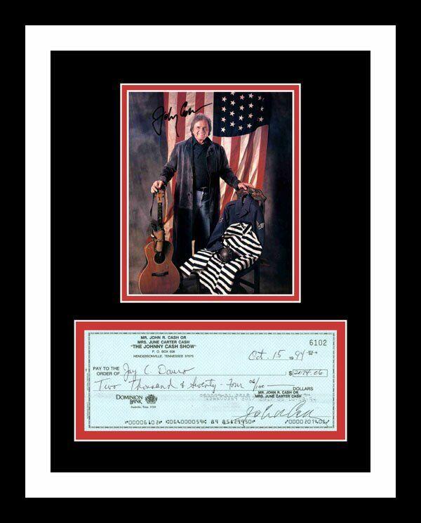 JOHNNY CASH *SIGNED BANK CHECK* & PHOTO PRINT DISPLAY *MAN IN BLACK*