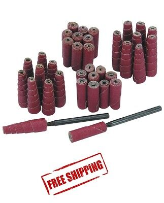 Abrasive Sanding Cartridge Spiral Roll Cone Cylinder Shaped Sander 52 Pc -