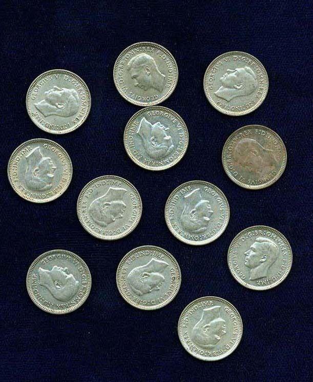 AUSTRALIA GEORGE VI 1943-D, M & S  3 PENCE SILVER COINS
