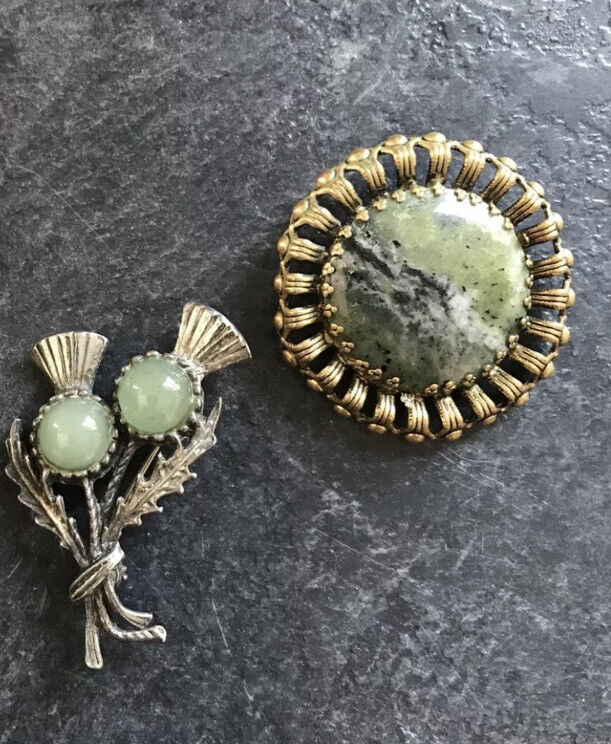 2 X Vintage Brooches Scottish Thistle  & round Green Faux Stone Brooches