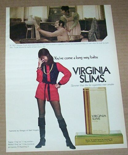 1972 print ad - Virginia Slims cigarettes Maggie Trude wife smoking Husband bath
