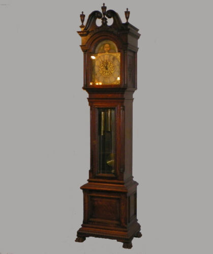 Antique Oak Grandfather Clock with carved claw foot John Wanamaker, New York