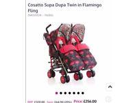 Cosatto supa dupa flamingo fling double buggy NEW