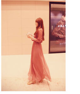 Korean Women Chiffon Pleated Casual Summer Beach Boho Party Sun Maxi Long Dress