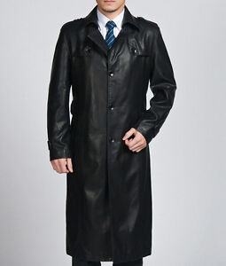 2015 mens Genuine Leather long jacket coat trench outwear overcoat parkas