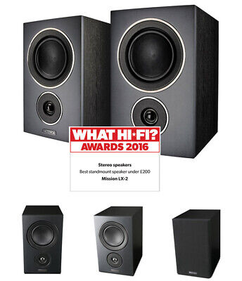 Mission LX-2 Bookshelf / Surround Speakers (PAIR) Black NEW!! - LX2BK