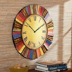 Large Wall Clock Vintage Style Round Antiqued Metal Side Oversized Home Decor