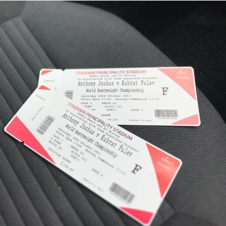 2 x Tickets For Sale - Anthony Joshua v Kubrat Pulev