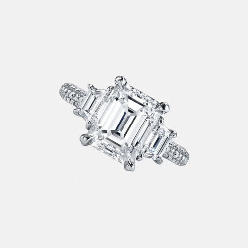 GIA Certified 4.75 Carat Three Stone Engagement Diamond Ring Emerald & Trapez...