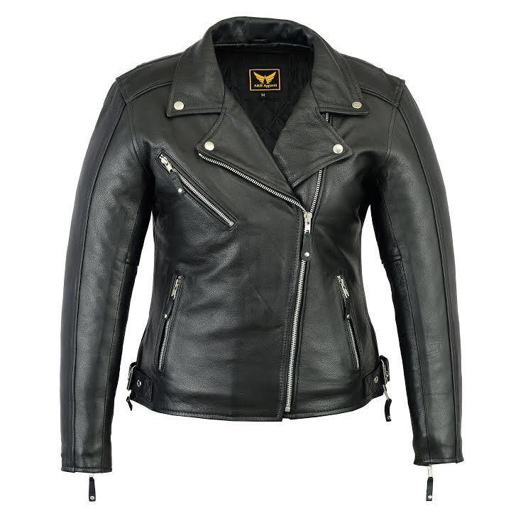 New Women's Black Biker Style Moto Genuine Soft Cowhide Leat