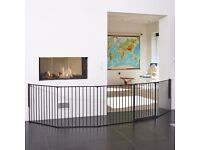 (Extra Large, Black)BabyDan Hearth /Room Divider with gate & Extension Pack