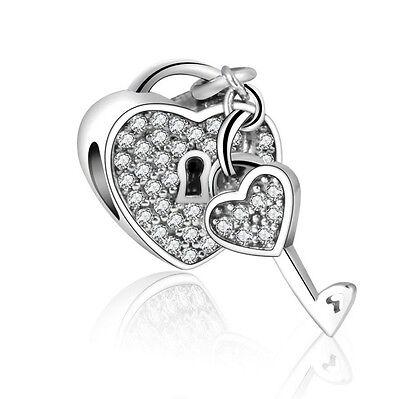 European Silver CZ Charm Beads Fit sterling 925 Necklace Bracelet Chain #056