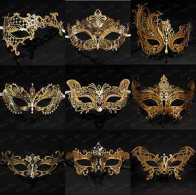Elegant Gold Collection - Venetian Masquerade Mask with Sparkling Rhinestones ()