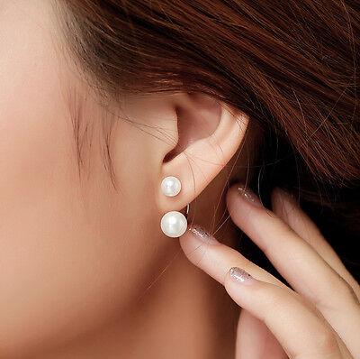 New Fashion Lady 925 Silver Plated Pearl Ear Stud Dangle Earrings