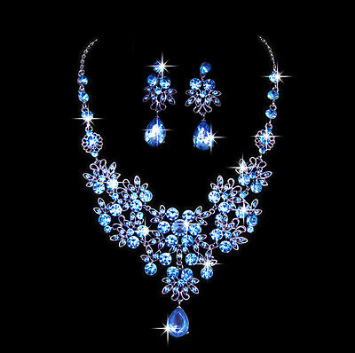 Silver Plated Crystal Necklace Earrings Bridal Wedding Jewelry Set Gift Blue