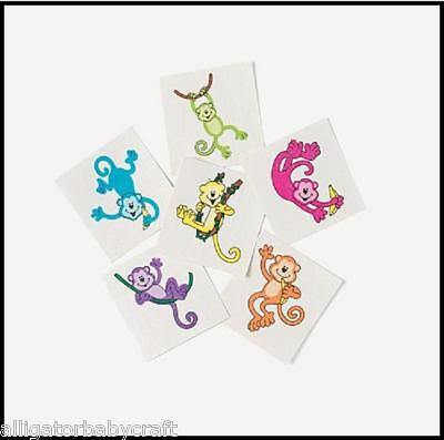 12 Temporary Tattoos for Kids Colorful Neon Monkey 1.5
