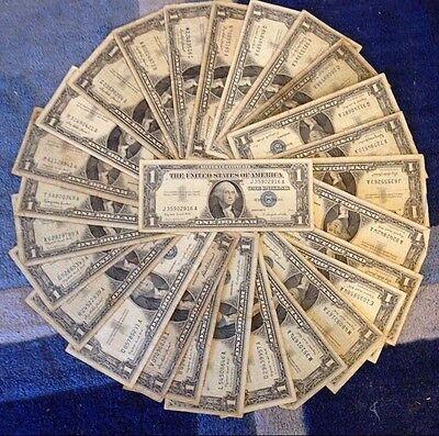✯1923-1957 One Dollar Note ✯ $1 Silver Certificate VG+ ✯ Bill Blue US -