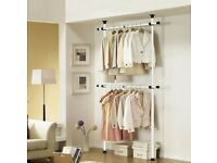 Telescopic Garment Rail Movable Room Wardrobe Closet Clothes Hanging Metal Rack