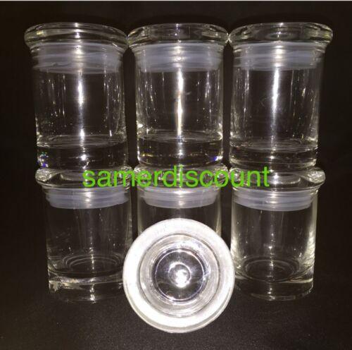6 JARS, GLASS MEDICAL HERB STASH JARS ODORLESS AIR TIGHT  TH