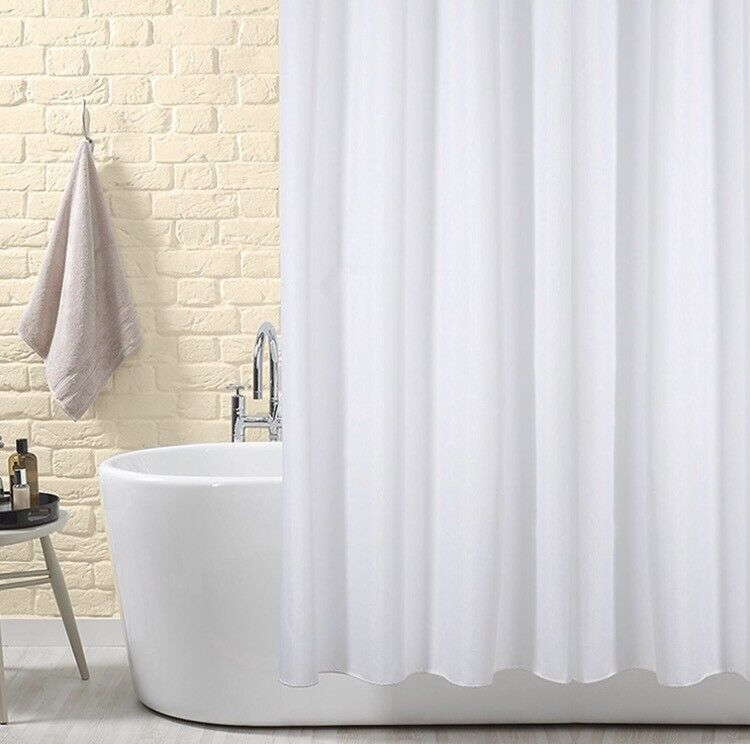Shower Curtain with 2types of plastic hooks included- never used, White