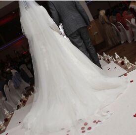 White Wedding Dress with Long Veil- worth £2500