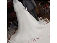 White Wedding Dress with Long Veil- worth £2500