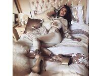 Luxury gold sleigh bed