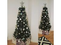 6ft Christmas Tree and box full of decorations