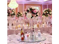 Luxury rustic elegant wedding party decorations chair covers, backdrop, centrepieces, donut wall