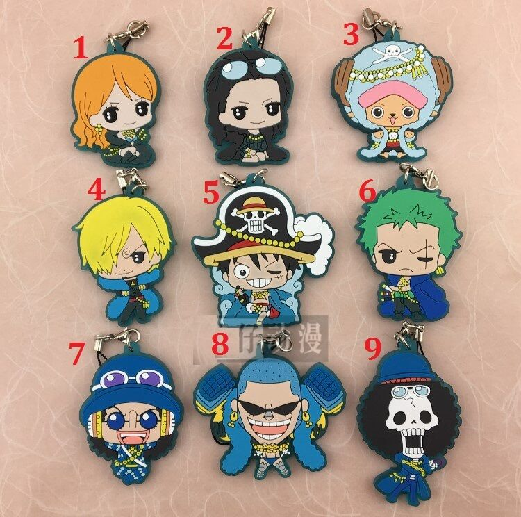 Japan Anime ONE PIECE Rubber Strap Charm Keychain Keyring Luffy Zoro Law Ace COS