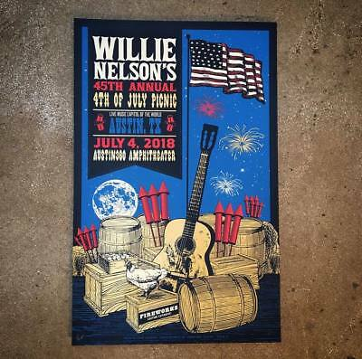 Willie Nelson 7/4/2018 45th Annual Picnic Poster Austin TX Signed & Numbered #30