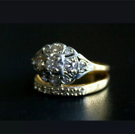 Vintage 1930s Art Deco cluster engagement and wedding ring set