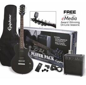 Epiphone black les Paul player pack electric guitar and amp - like new